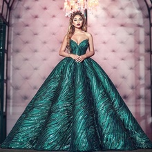 Dames Sweetheart Lace Avondjurk Speciale Gelegenheden Puffy Baljurk Green Sequin Stof Quinceanera <span class=keywords><strong>Prom</strong></span> Jurken <span class=keywords><strong>2019</strong></span> Nieuwe