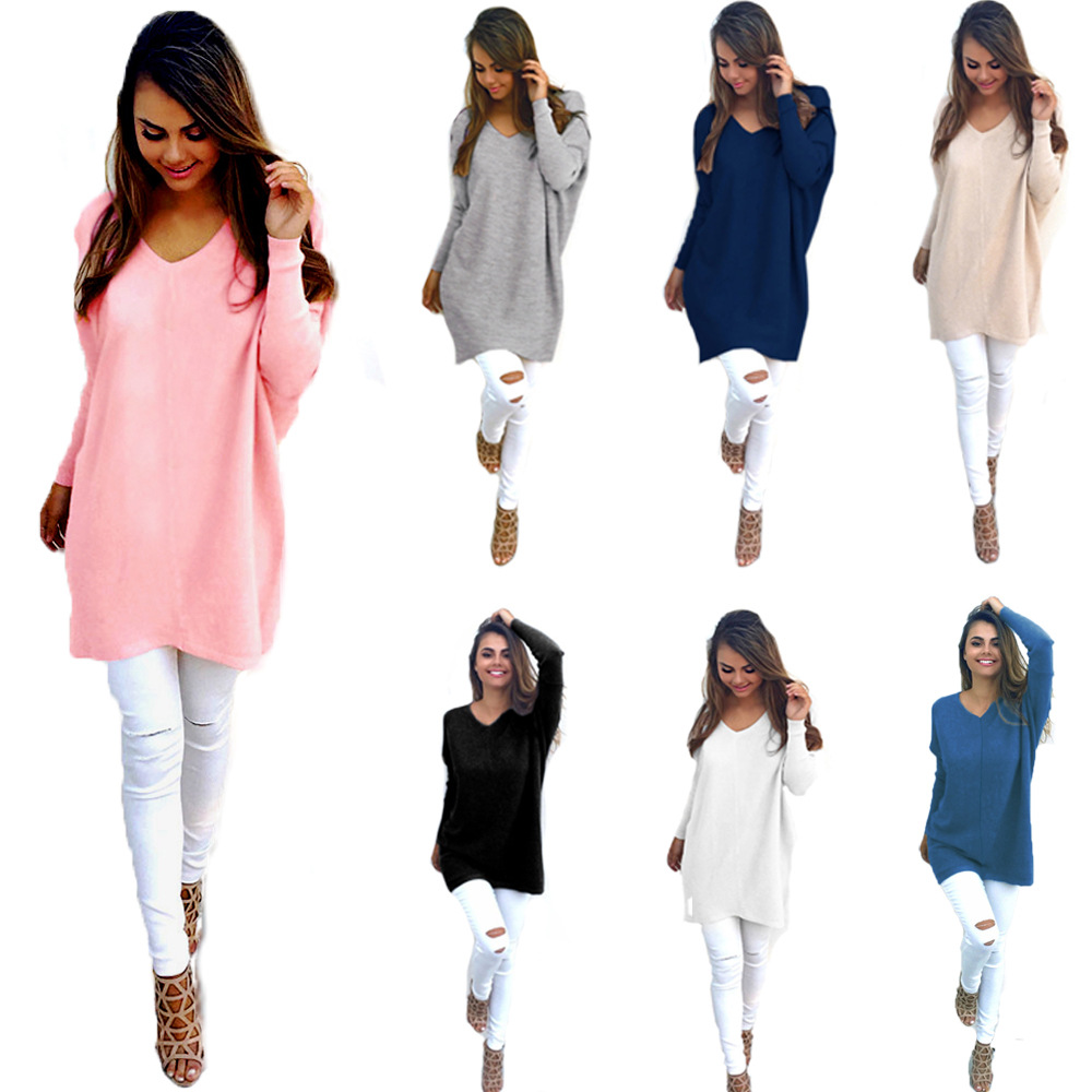 4444ff9e2e85b Fashion Spring Autumn Winter Dress Womens Loose Knitted Oversized Baggy  Sweater Jumper Outwear Plus Size Female Vestidos 5XL 6XL
