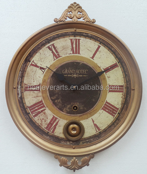Antique Gold Color Ring French Paris Wall Clock With Brass Pendulum