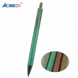 ACMECN 2018 Hot Sale Bling Glitter Ballpoint Pen Push click Action Multi-color Cute Pens for Lady Printing logo Metal Ball Pens