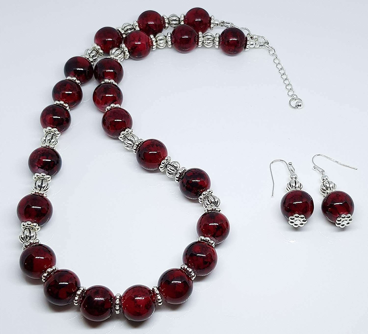 Red Marbleized Glass Beads/Silver Plated Metal Dot Rondelles/Antique Sterling Silver Plated Lantern Beaded Duo Set