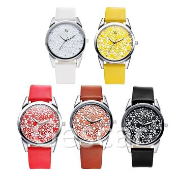 Number V6-b008 Fashion applique Dial Lady Leather Wrap Quartz watch Casual V6 super speed watch