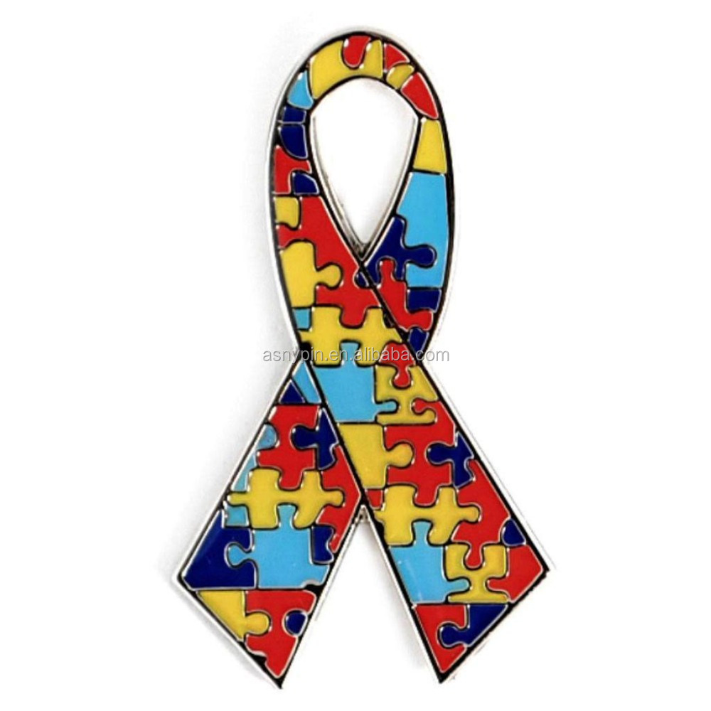 Autism Awareness Ribbon Lapel Pin Badge, ASD Aspergers Autism Awareness Puzzle Ribbon Lapel Pins