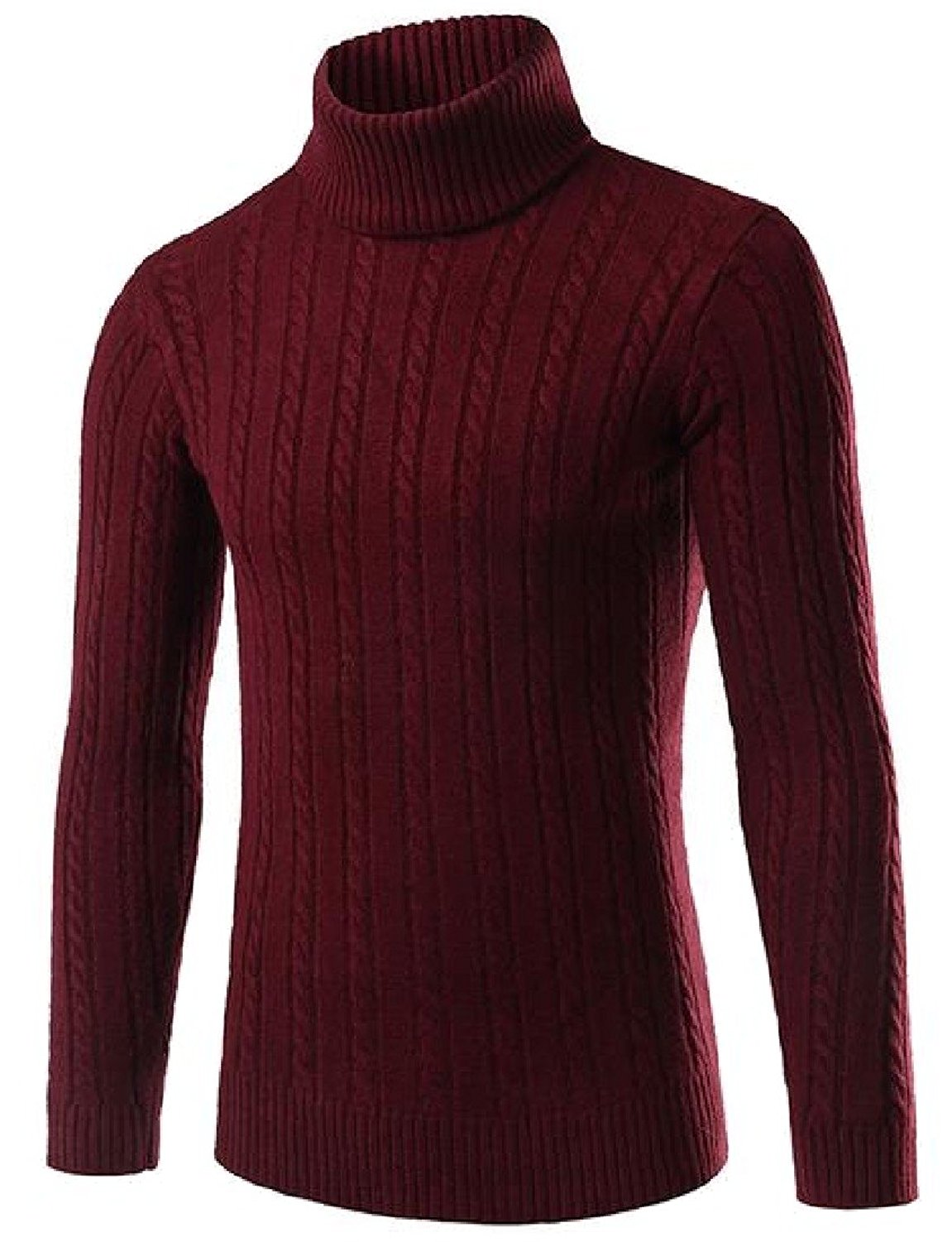 XQS Men's Regular Turtleneck Fashionable Linen Pullover Sweaters