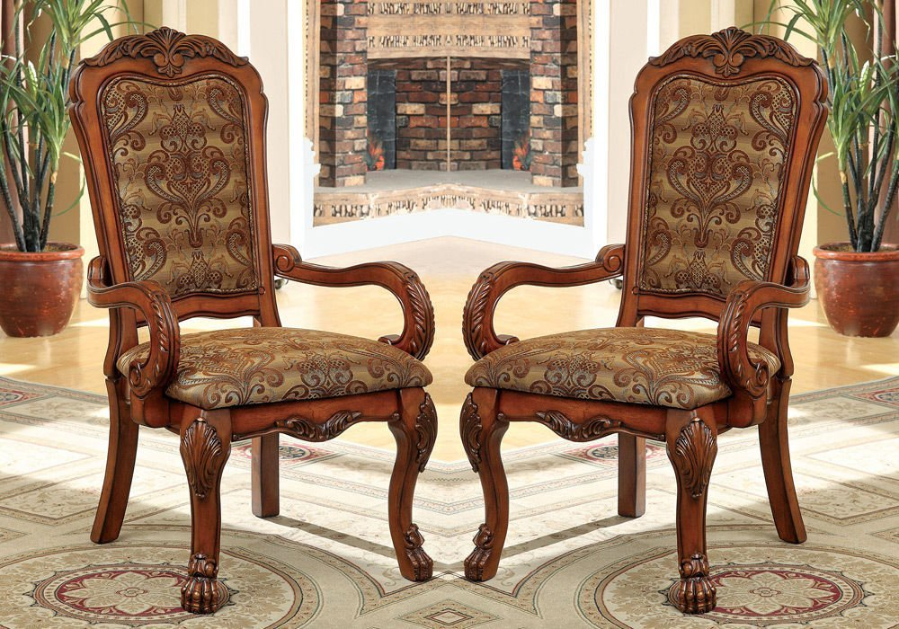 1PerfectChoice Medieve 2 pcs Formal Dining Arm Chairs Fabric Floral Pattern Antique Oak Wood