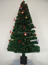 Beautiful Butterfly With Red Berries Optic Fiber PVC Christmas Tree