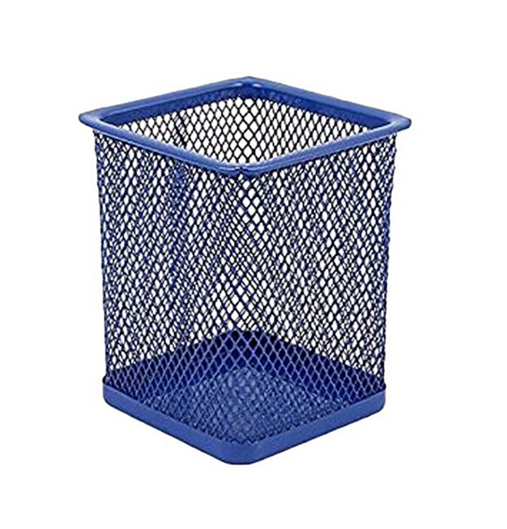 Hot sale Metal Mesh Square Round Pen Holder Office Desk Stationary Container Organizer (blue (square))