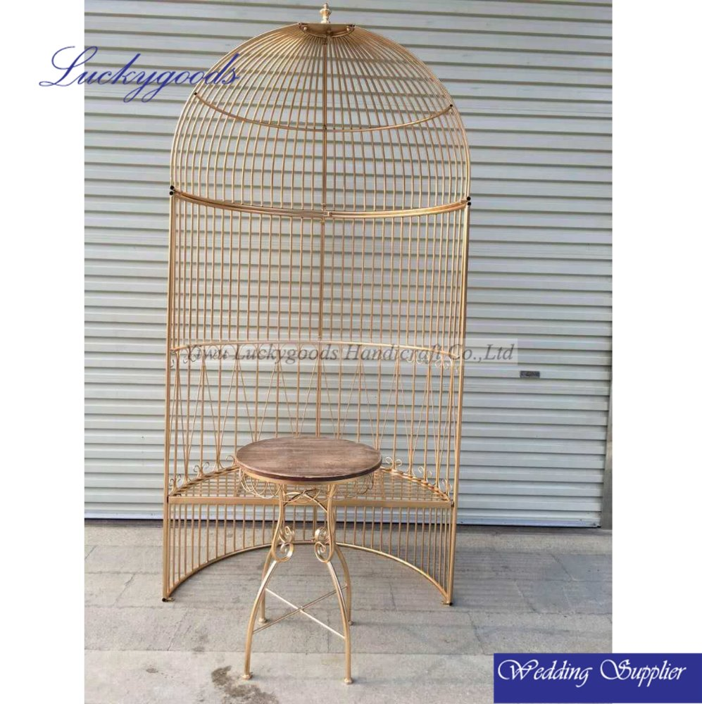 LDJ755 wholesale fashion gold decorative bird cages for wedding decoration