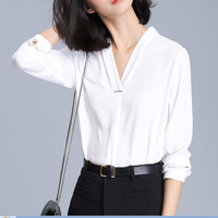 Fashion V-Neck Shirt Women Casual Long Sleeve Chiffon T-Shirt Loose Tops Blouse