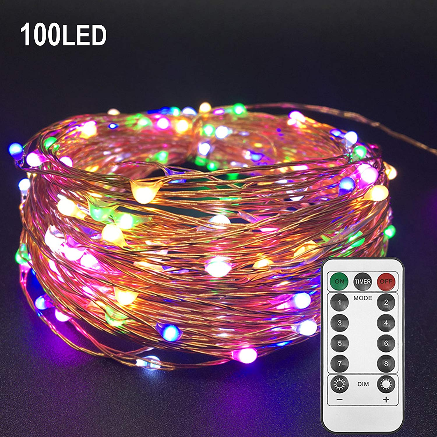 Twinkle Star 33ft 100LED Multi-Color Copper Wire String Lights Fairy String Lights 8 Modes LED String Lights USB Powered with Remote Control for Wedding Party Home