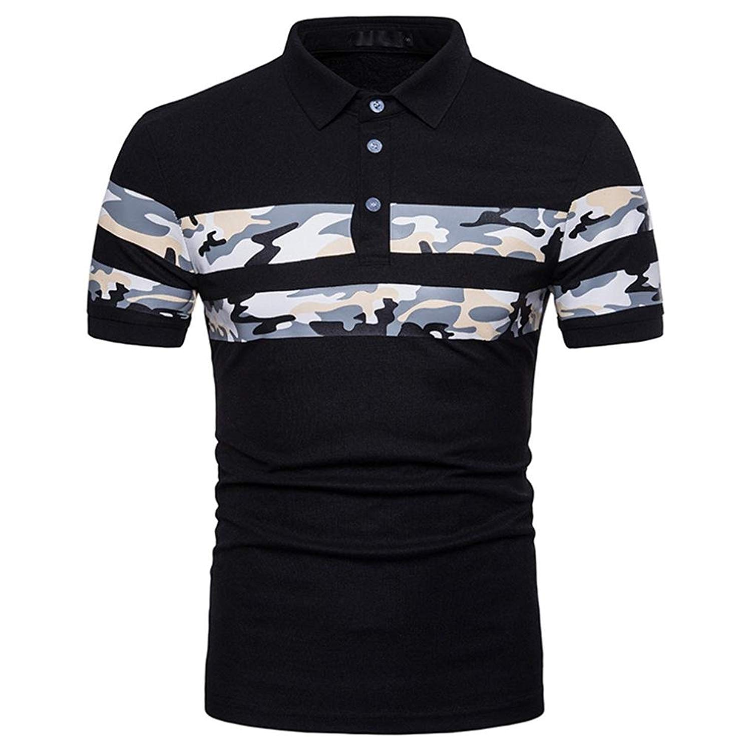 59958623 Get Quotations · BSGSH Men's Polo Shirts Casual Camouflage 3 Button Placket  Short Sleeve Golf Polo T-Shirt
