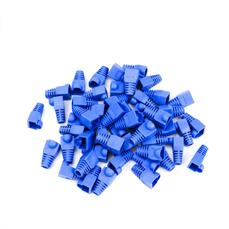 HUELE 100 Pcs Blue Soft Plastic CAT5E CAT6 Ethernet RJ45 Cable Cap Connector Boots Plug Cover Strain Relief Boots rj45 Ends cat6 connectors