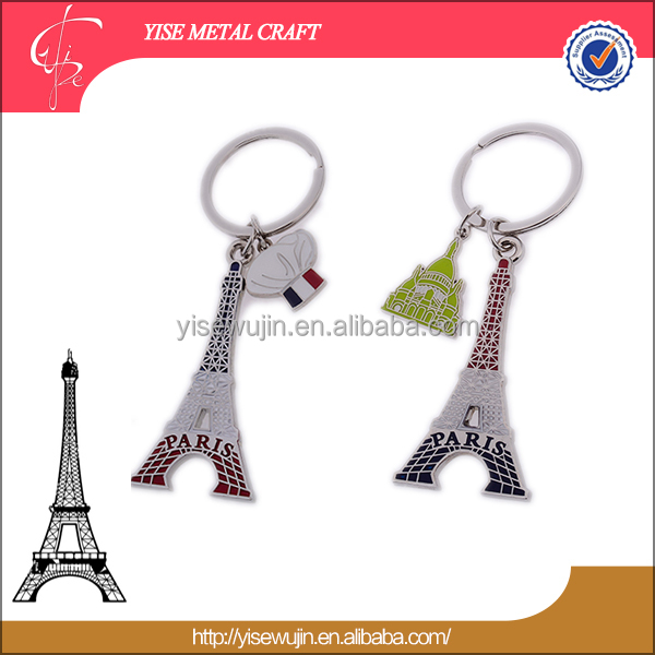 Special surprise door gift Love in Pair metal Eiffel Tower keychain key holder keyring for Couple love token accessories