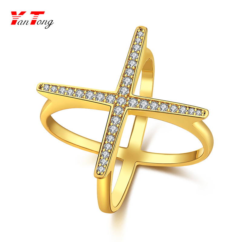 2018 Customized Jewelry New Arrival Criss Cross Simple Gold Ring