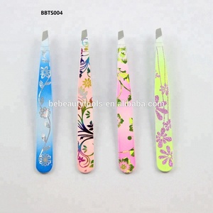 Colorful customized design make-up tools stainless steel eyebrow hair plucking tweezers for girls women