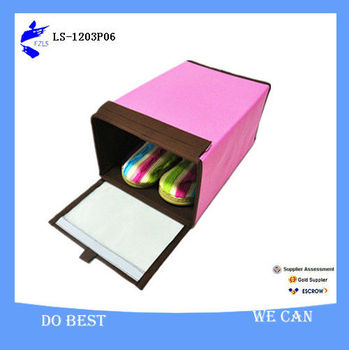 Pink Custom Fabric Shoe Storage Box With Window