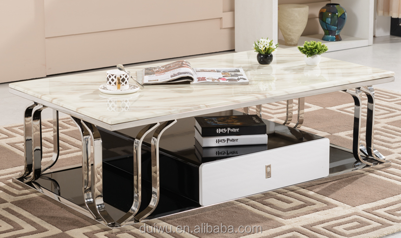 Living room furniture metal new model natural marble coffee table for sale