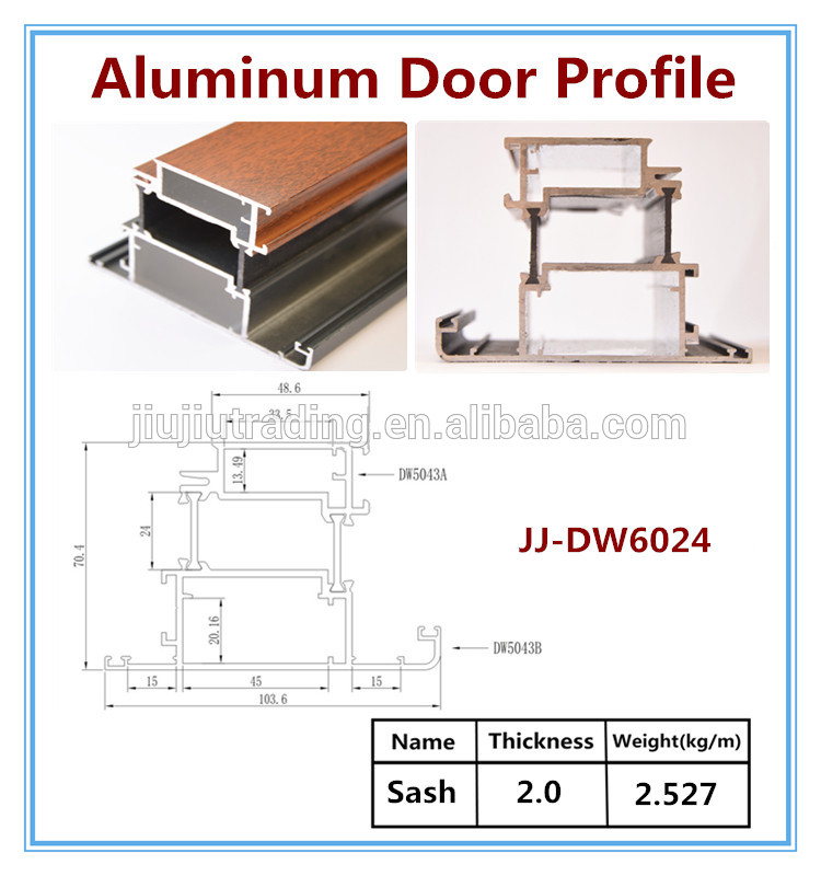 Door profile for a 1 3 4 thick door with profiles m1 or for Aluminium window frame manufacturers