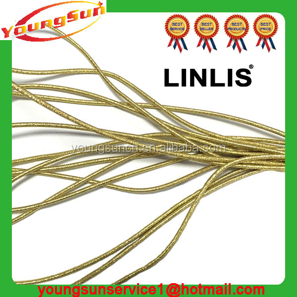 Custom 3mm golden color round elastic band and circular elastic rope and elastic rubber rope