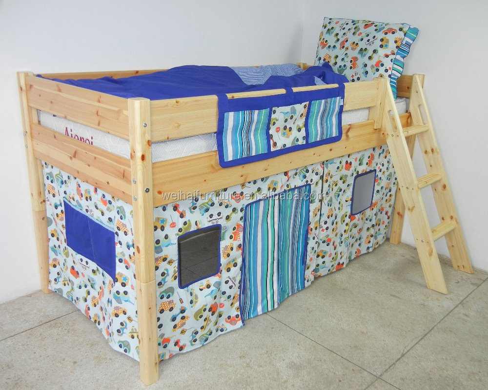 Bed curtain for children midheight bed Printed with car pattern