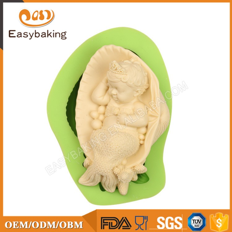 ES-0705 Baby Mermaid Silicone Molds Fondant Mould for cake decorating
