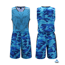 Hot sale blue camo youth basketball team uniforms
