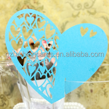 2016 Hot Sale Products Heart Shaped Laser Cut Wedding Place Cards for Wine