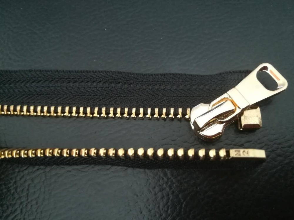 No5 metal zipper brass gold Y teeth with custom logo puller