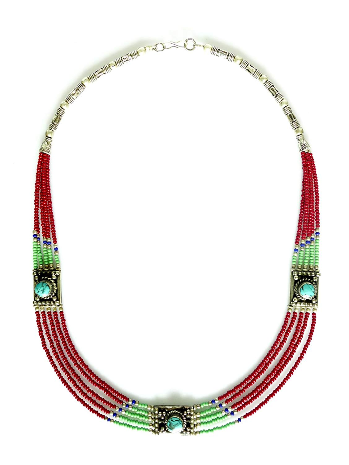 Tibetan Silver FABULOUS RED RUBY AND TURQUOISE DESIGNER COLLAR NECKLACE FOR WOMAN OXIDIZED silver-plated-base ETHNIC MULTI STRAND TRIBAL BUDDHIST BOHEMIAN COLLAR NECKLACE