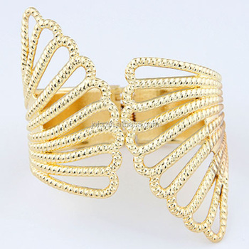 Women Gold Bracelets Metal Pattern Bangles Alloy Wing Wide