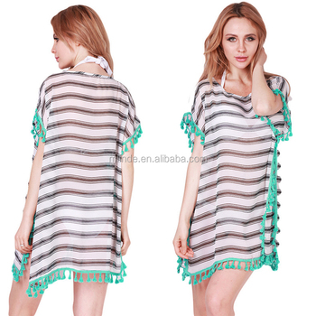 d9f1fbb82 Summer Chiffon Beach Cover Ups Striped Beachwear Dress Tunics Bathing Suit  Swimsuit Cover Up Swimwear Robe
