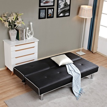 House And Apartment Folding Sofa Leather Bed Black