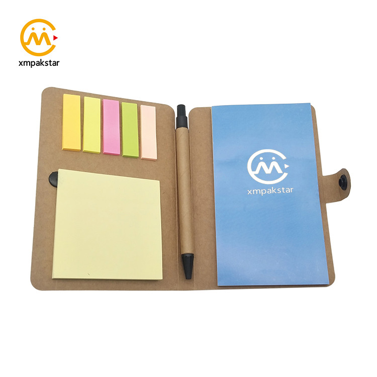 China cheap Kraft small pocket diary with pen and sticky note