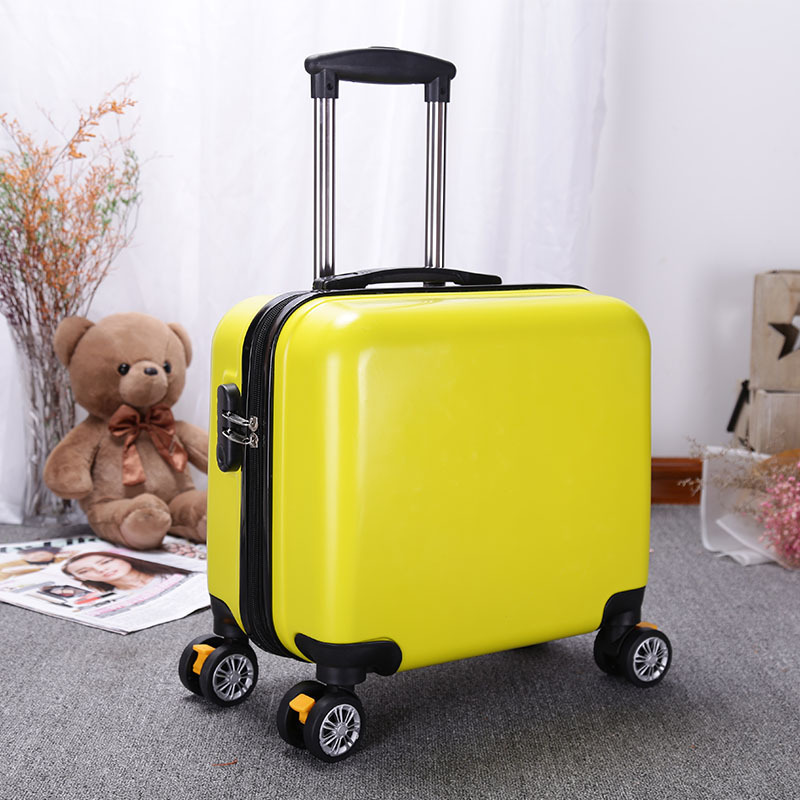 OEM Customized 2019 abs+pc 18 inch cabin laptop suitcase luggage printed Logo kid luggage
