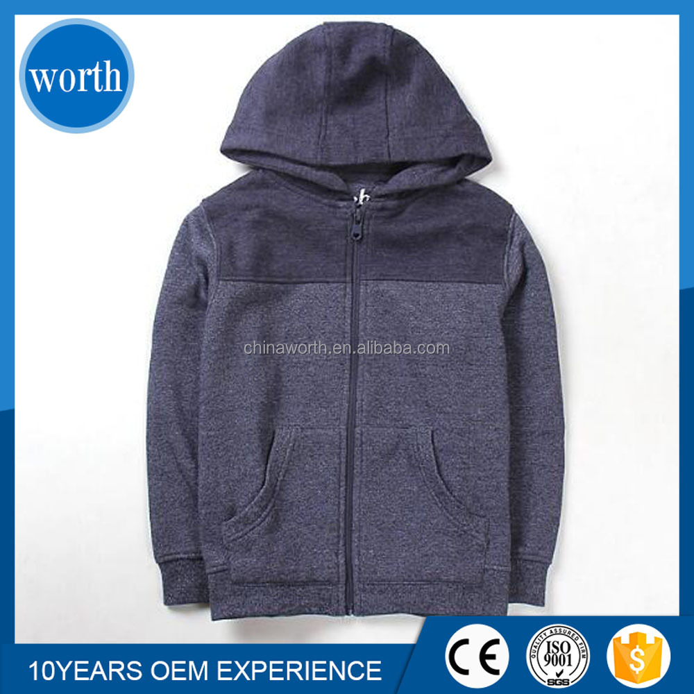 factory price plain zipper fleece lined hooded jacket