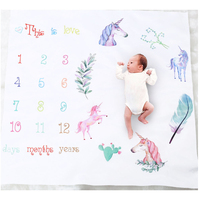 Fashion Flannel Baby Growth Soft Monthly Milestone Blanket