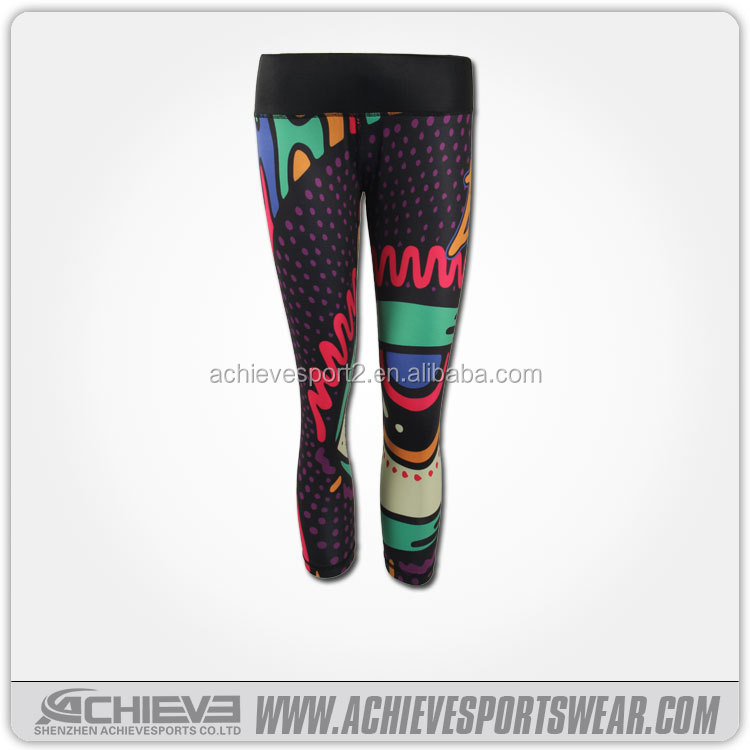 wholesale fashion design pants, lady sportswear pants, cheap 3/4 yoga pants