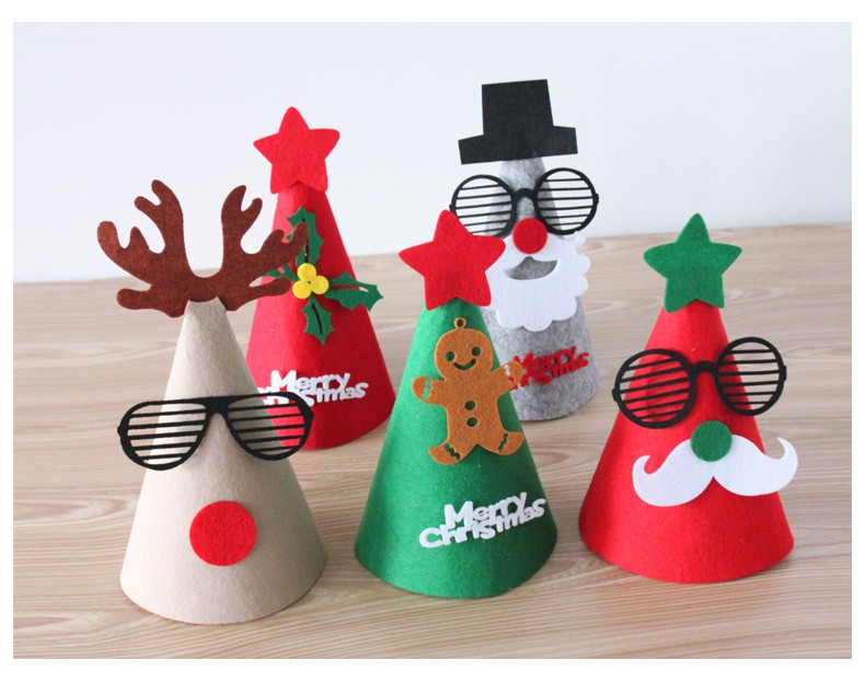 65a6fb6574ea2 DIY funny Rudolph Old man Snowman children Santa hat on sticks christmas  party christmas