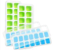 Silicone <span class=keywords><strong>Ice</strong></span> <span class=keywords><strong>Cube</strong></span> Trays 4 Pack Met Afneembare Deksels