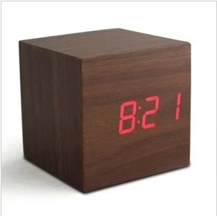 Hot fashion Home decor led wood clock portable cube led alarm clock with thermometer/USB and battery supply