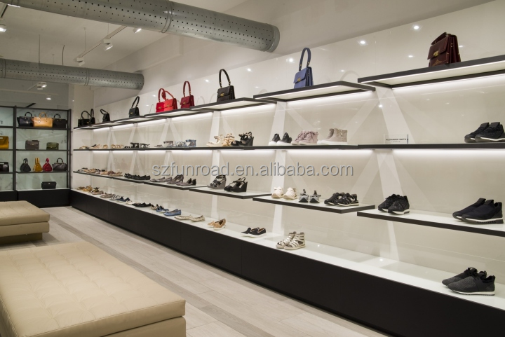 Luxurious handbag brands outlets interior design with unique glass display cases