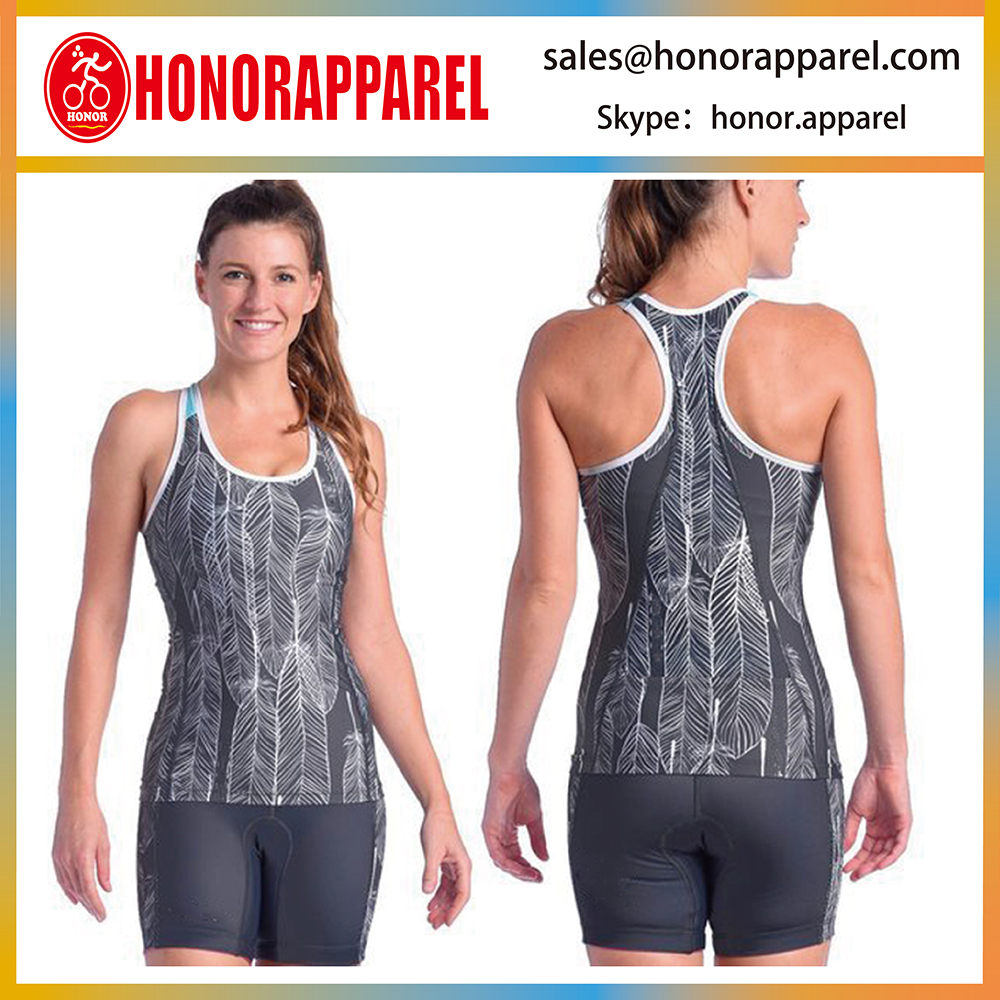 Fashion Lycra Women Series Breathable Polyester Good Elasticity Triathlon Singlet and Shorts Tri Set
