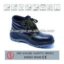 new style PU injection sole leahter safety shoe with sponge collar steel toe