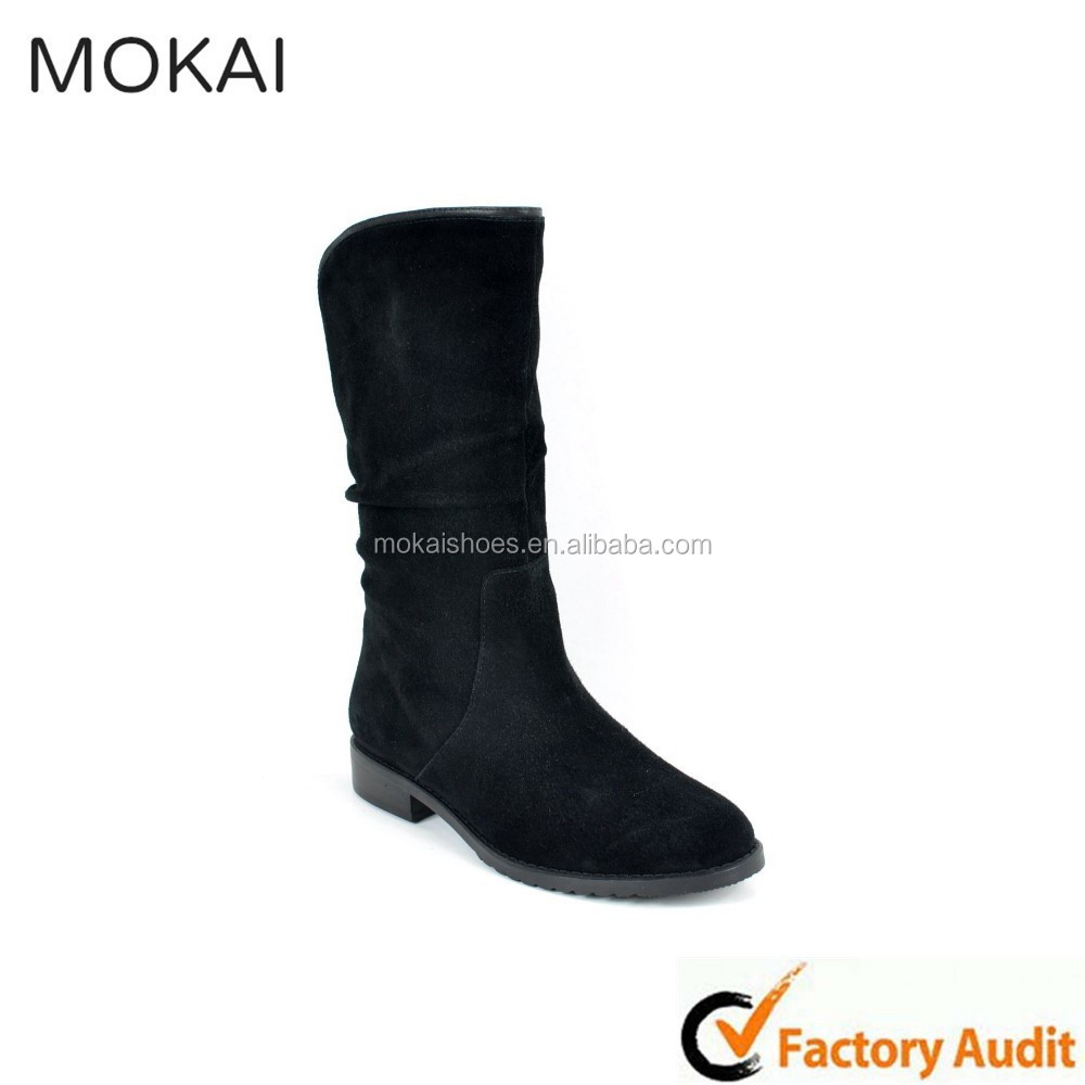 MK001-1 Black suede new model designer military riding boot