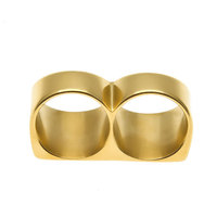HOT SELLING JEWELRY Punk style Double Circle Finger Ring two finger ring for man and woman