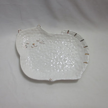 Cat shape white ceramic <span class=keywords><strong>식품</strong></span> 집게를 제공 tray 대 한 식기