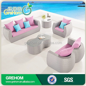 Rattan Outdoor Furniture Used Hot Pink Sofa