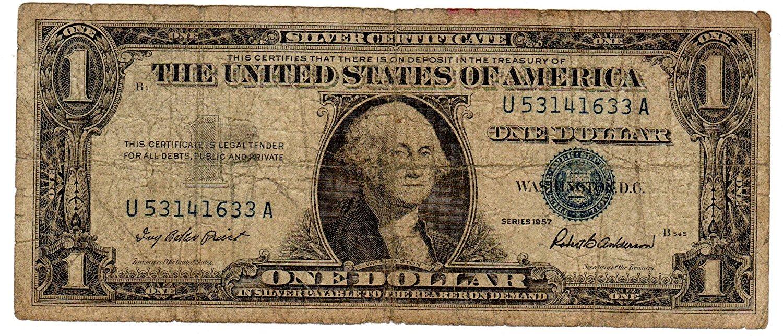 buy paper money u s one single 1 silver certificate blue seal