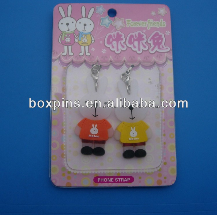 cute rabbits couple mobile phone strap charms