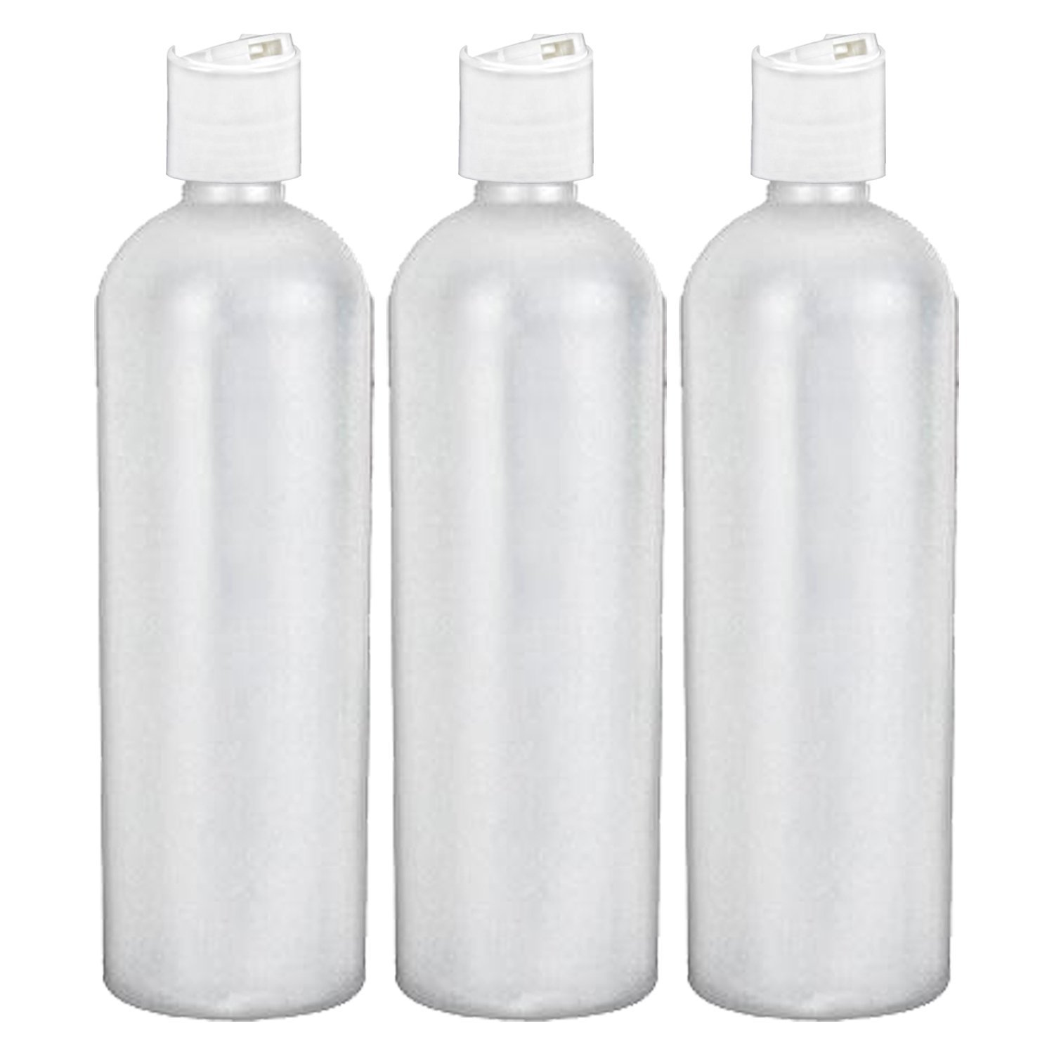 MoYo Natural Labs 16 oz Travel Containers, Empty Shampoo Bottles with Disc Caps, BPA Free HDPE Plastic Squeezable Toiletry/Cosmetics Bottles (3 pack, Translucent White)